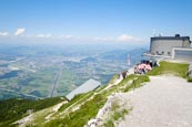 Thumbnail image of Untersbergbahn mountain station with view over the Salzach Valley towards Salzburg, Grödig, Salzburg