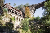Thumbnail image of Hotel Sokoli hnizdo, Falcons nest with the Pravcicka brana Pravcice Gate natural sandstone arch, Hre