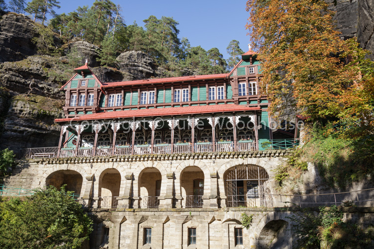 photo showing Hotel Sokoli Hnizdo, Falcons Nest – By The Pravcicka Brana Pravcice Gate Natural Sandstone Arch, Hre