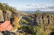 Thumbnail image of Pravcicka brana Pravcice Gate natural sandstone arch and view Bohemian Switzerland, Hrensko, Usti na