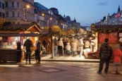 Thumbnail image of Christmas Market in Wenceslas Square at dusk, Prague, Czech Republic