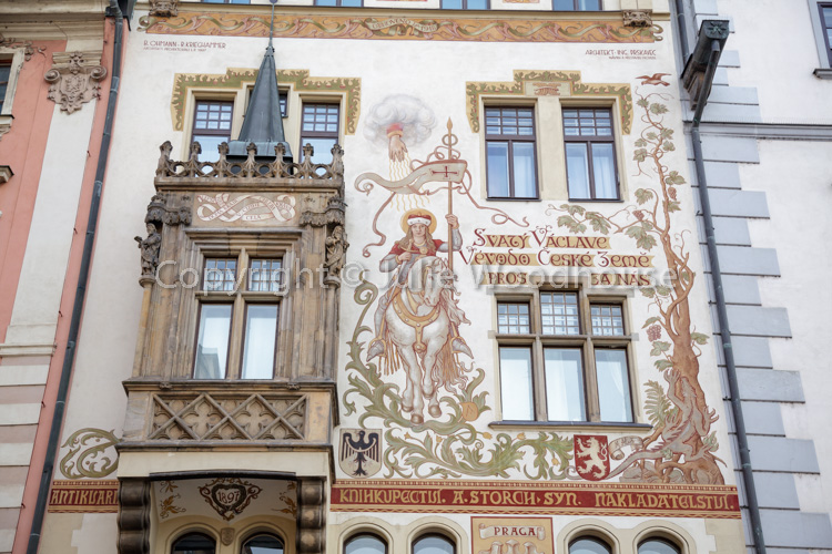 photo showing The Storch House On The Old Town Square With A Design By Mikulas Ales Showing St Wenceslas On Horseb