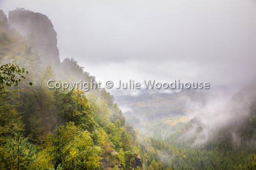 photo showing Misty View In The Bohemian Switzerland National Park Ceske Svycarsko Near Mezni Louka, Usti Nad Labe