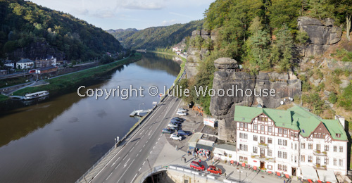 photo showing View Over The Elbe Between Hrensko And Schona In Germany, Bohemian Switzerland, Hrensko, Usti Nad La