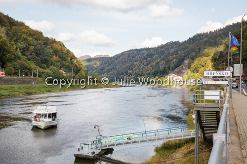 photo showing River Elbe With Public Transport Ferry, Bohemian Switzerland, Hrensko, Usti Nad Labem, Czech Republi