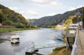 Thumbnail image of River Elbe with public transport ferry, Bohemian Switzerland, Hrensko, Usti nad Labem, Czech Republi