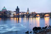 Thumbnail image of View of the Charles Bridge with the Vlatva River and Old Town Bridge Tower, Prague, Czech Republic