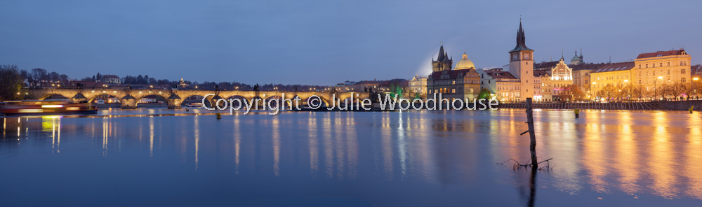 photo showing View Of The Charles Bridge And The Old Town Over The River Vlatva From The Island Střelecký Ostrov,
