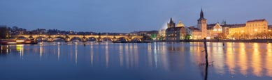 Thumbnail image of view of the Charles Bridge and the Old Town over the River Vlatva from the island Střelecký ostrov,