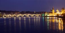 Thumbnail image of view of the Charles Bridge and the Old Town over the River Vlatva from the most Legií bridge, Prague