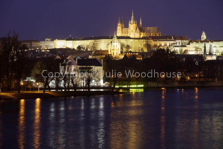 photo showing View Of The Castle Over The River Vlatva From The Most Legií Bridge, Prague, Czech Republic