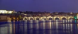 Thumbnail image of view of the Charles Bridge over the River Vlatva from the most Legií bridge, Prague, Czech Republic