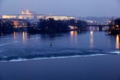 Thumbnail image of Misty blue hour view of the Castle over the Vlatva River, Prague, Czech Republic
