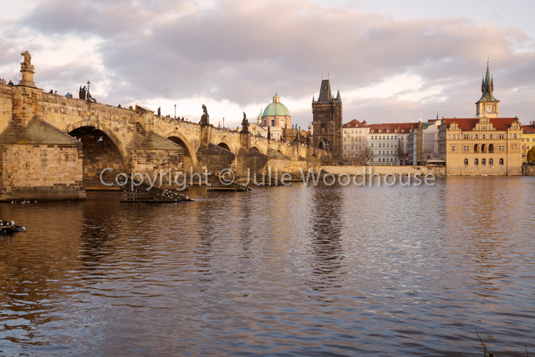 photo showing View Of The Charles Bridge With The Vlatva River And The Old Town, Prague, Czech Republic