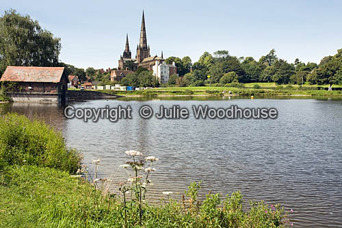 photo showing Stow Pool With Cathedral, Lichfield,  Staffordshire