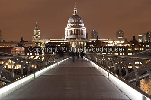 photo showing St Pauls Cathedral And Millenium Bridge, London