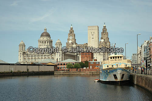 photo showing Canning Dock, With The Royal Liver Building And The Port Of Liverpool Building