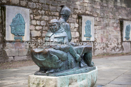 photo showing Friar Tuck And Little John Statue Outside Nottingham Castle, Nottingham, Nottinghamshire, England