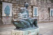 Friar Tuck And Little John Statue Outside Nottingham Castle, Nottingham, Nottinghamshire, England