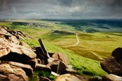 Thumbnail image of Hathersage Moor, view from Higger Tor towards Carl Wark, Derbyshire, England