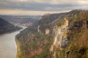 Thumbnail image of view from the Bastei over the Elbe River, Sächsische Schweiz National Park, Saxony, Germany