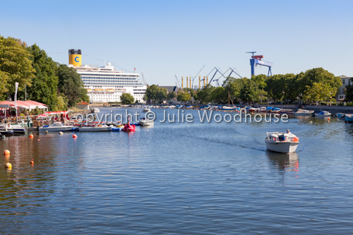 photo showing Alter Strom And Boat Harbour, Warnemuende, Mecklenburg Vorpommern, Germany
