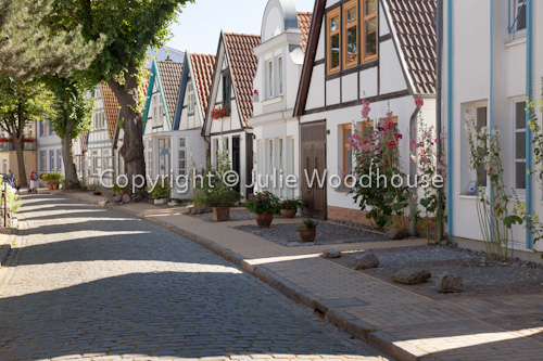 photo showing Houses In Alexandrinenstrasse, Altstadt, Warnemuende, Mecklenburg Vorpommern, Germany