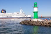 Lighthouses With Scandlines Ferry, Warnemuende, Mecklenburg Vorpommern, Germany