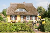 Thumbnail image of Typical thatched cottage and garden at Born auf dem Darss, Mecklenburg-Vorpommern, Germany