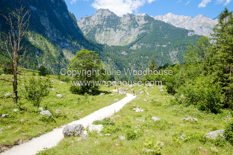 photo showing Hikers On The Footpath Between The Königssee And Obersee Lakes, Upper Bavaria, Bavaria, Germany, Eur