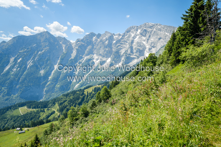 photo showing View From The Rossfeld Panoramastrasse Over Obersalzburg, Berchtesgaden, Upper Bavaria, Bavaria, Ger