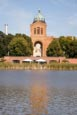 Thumbnail image of Engelbecken with Cafe am Engelbecken and Michaelkirche, Luisenstadt Canal, Kreuzberg, Berlin, German