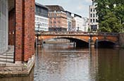 Alsterfleet With Heiligengeistbrücke And Passageway, Hamburg, Germany