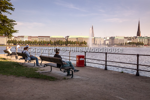photo showing View Of The City Center Across The Binnenalster, Hamburg, Germany