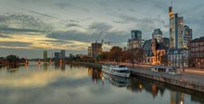 River Main With Skyline, Frankfurt Am Main, Hessen, Germany