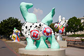 Nanas, Street Art By Niki De Saint Phalle On Leibnizufer, Hannover, Lower Saxony, Germany