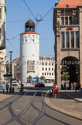 photo showing Dicke Turm / Frauenturm And Art Nouveau Department Store On Marienplatz, Goerlitz, Saxony, Germany