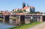 View Of The Altstadt With Altstadtbrücke And Elbe Cycle Path, Meissen, Saxony, Germany