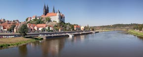 View Of The Altstadt With Albrechtsburg, Cathedral And River Elbe, Meissen, Saxony, Germany