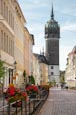 Thumbnail image of Coswiger Strasse with Schlosskirche, Lutherstadt Wittenberg, Saxony Anhalt, Germany
