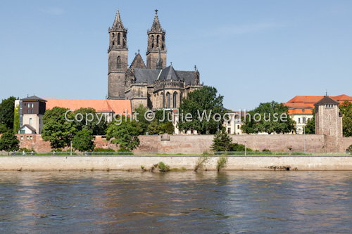 photo showing River Elbe With The Cathedral And Fürstenwall, Magdeburg, Saxony Anhalt, Germany