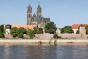 River Elbe With The Cathedral And Fürstenwall, Magdeburg, Saxony Anhalt, Germany