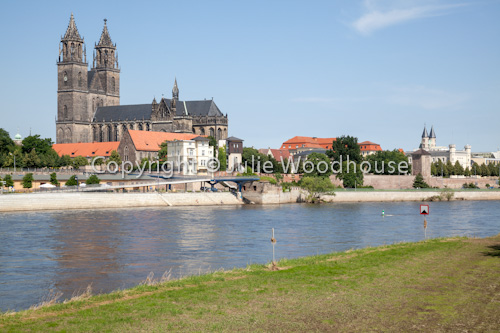 photo showing Magdeburg Along The River Elbe From Cathedral To Kloster Unser Lieben Frauen, Saxony Anhalt, Germany