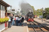 Steam Train Arriving At Westerntor Station With Tourists Waiting To Board, Wernigerode, Saxony Anhal
