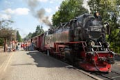 Steam Train At Drei Annen Hohne With Tourists Boarding, Saxony Anhalt, Germany
