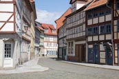 Thumbnail image of Bakenstrasse, a typical street in the Old Town with renovated timber frame houses, Halberstadt, Saxo