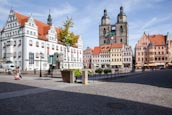 Market Place With Rathaus And Stadtkirche St. Marien, Lutherstadt Wittenberg, Saxony Anhalt, Germany