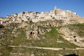 View To Matera From Torrente Gravina, Matera, Basilicata, Italy