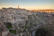 Thumbnail image of view over Matera and Torrente Gravina from Sasso Caveoso, Matera, Basilicata, Italy