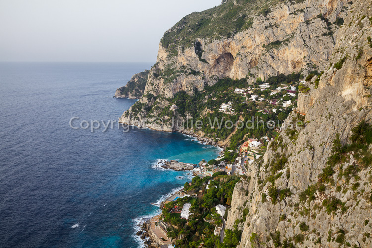 photo showing View From Belvedere Cannone Over The Coast And Marina Piccola, Capri, Campania, Italy